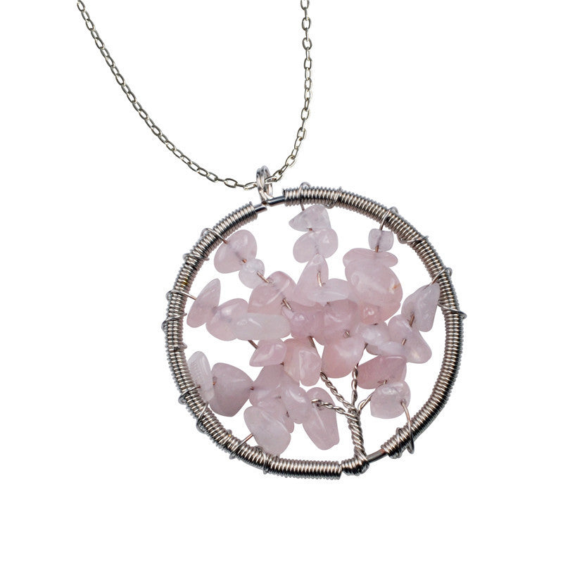 The Tree of Life Healing Natural Gemstone Pendant Necklace - Rose Quartz