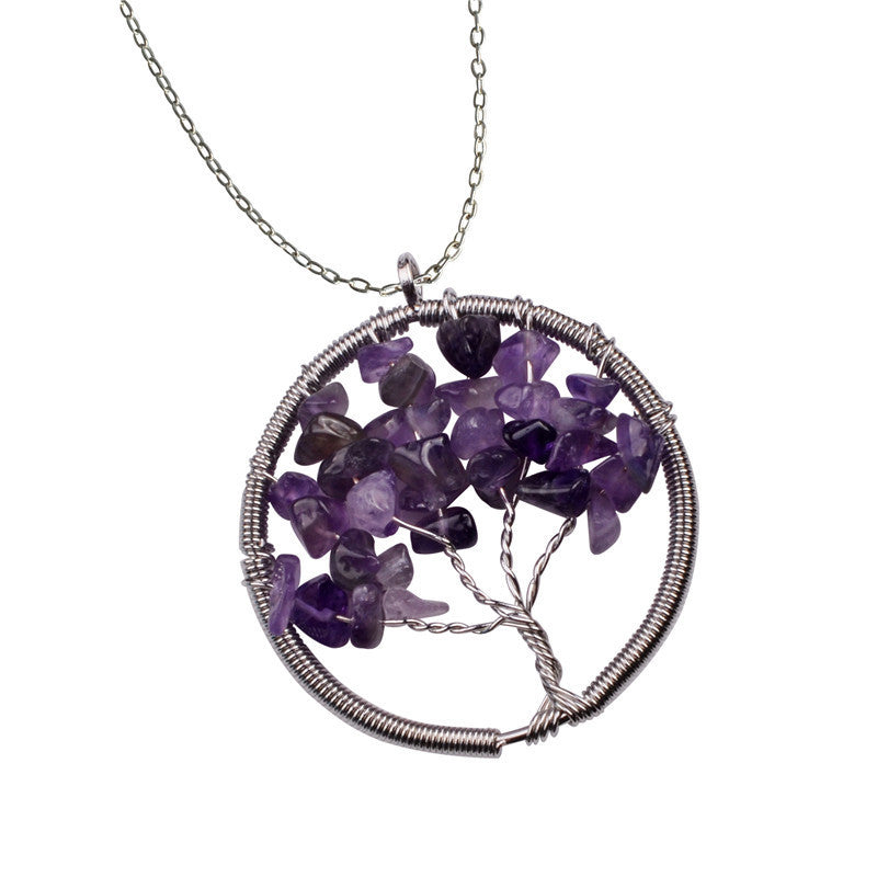 The Tree of Life Healing Natural Gemstone Pendant Necklace -  Amethyst