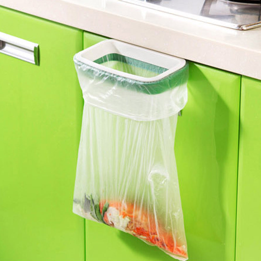 Hanging Bracket Door Trash Holder Kitchen Garbage Bin Bag Storage Rack