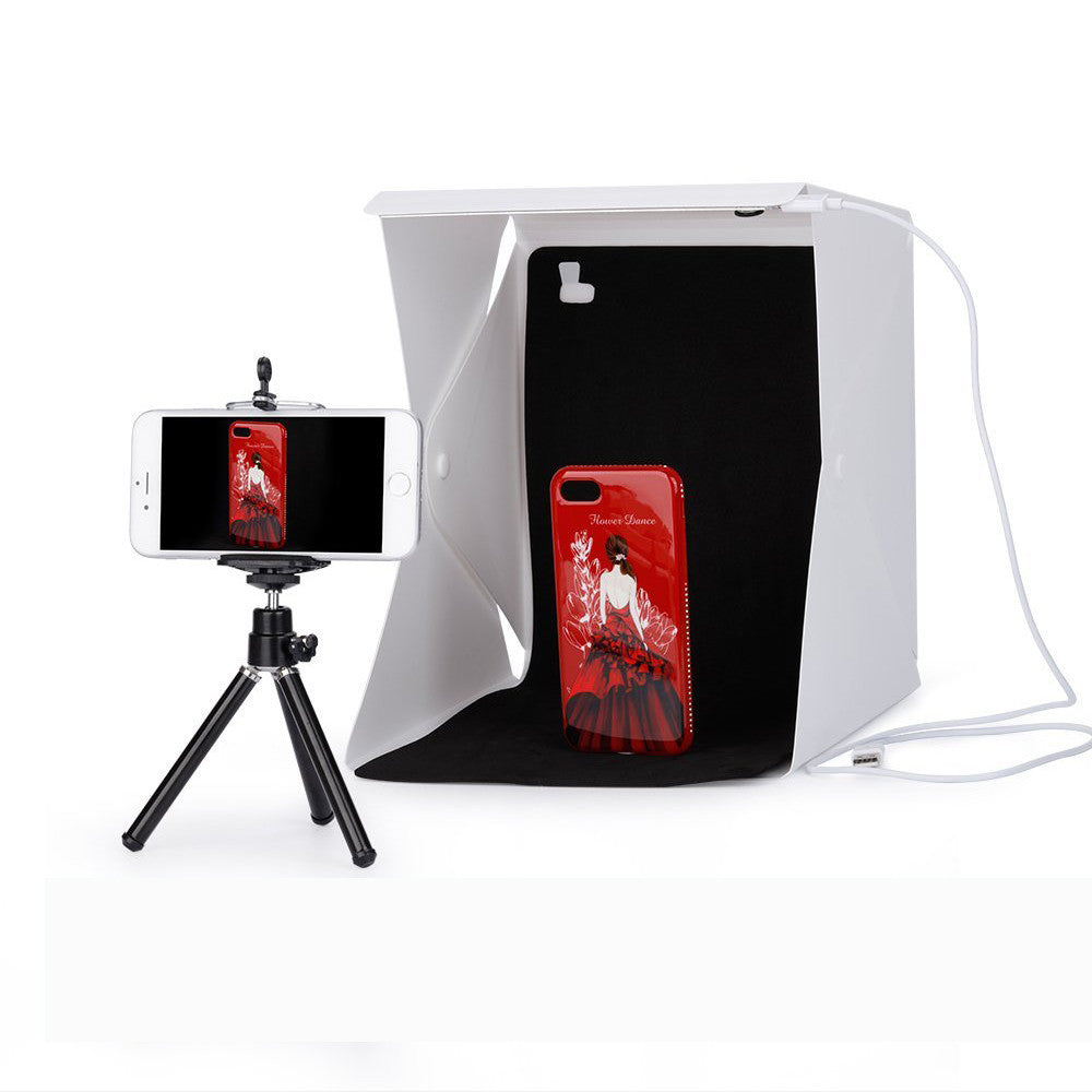 40x40x40cm Portable Folding Light Box Photography Photo Studio box with LED Lighting