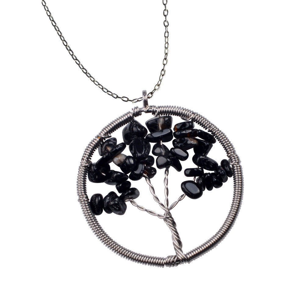 The Tree of Life Healing Natural Gemstone Pendant Necklace -  Black Onyx