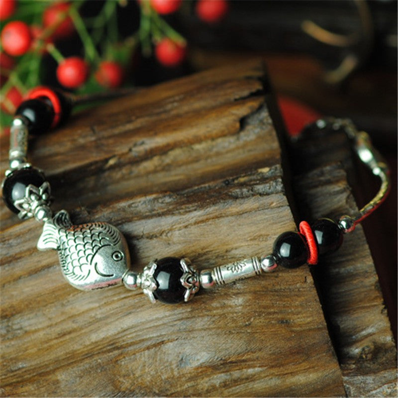 Ladies Fish Shape Anklets/Tibetan Silver Retro Foot Chain