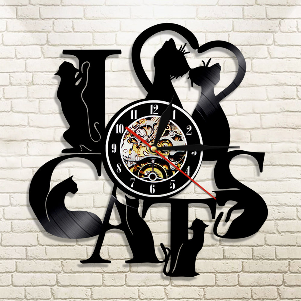 I Love Cats LED Light Decorative Wall Clock