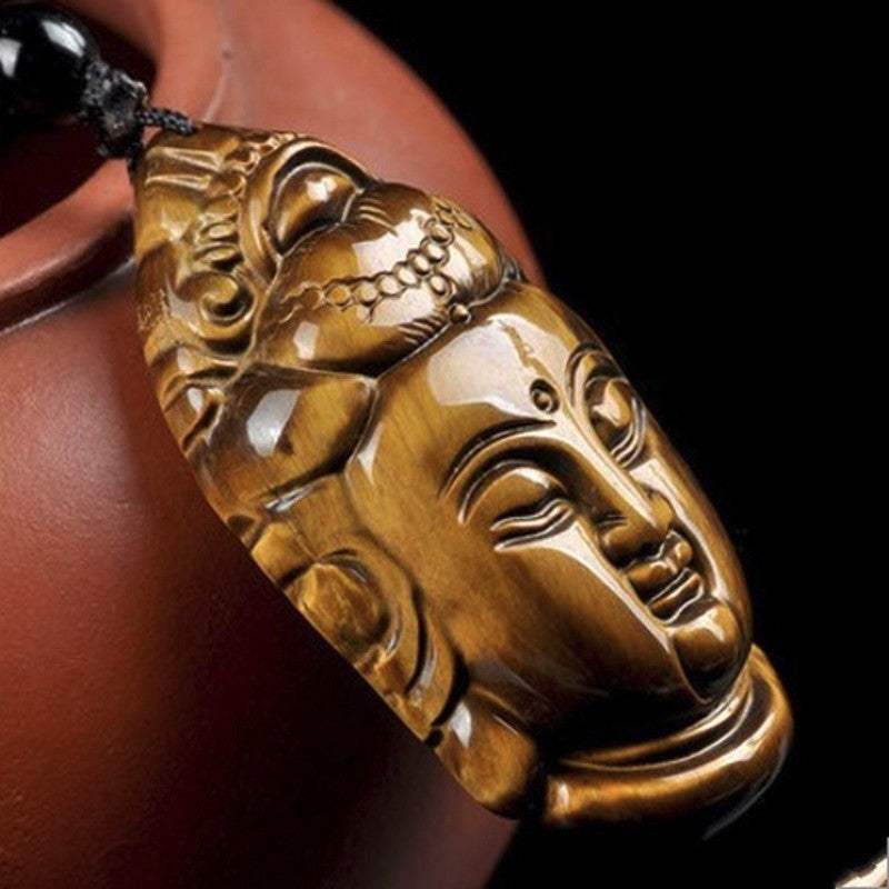 Protective Guanyin Buddha Pendant Necklace in Velvet Pouch - Hand Carved