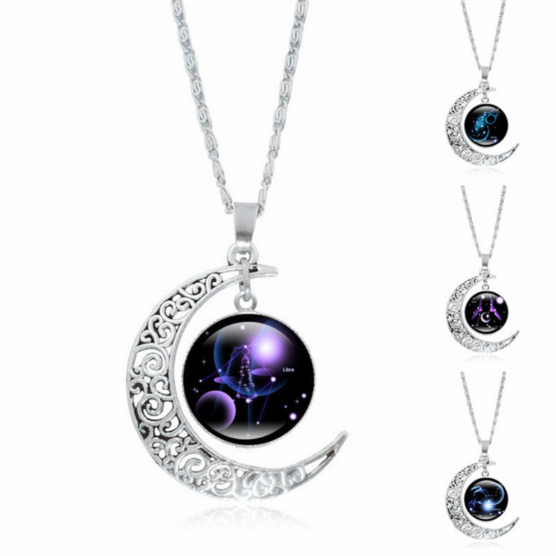 Jewellery Choker Necklace Glass/Cabochon Galaxy Pendant Moon Necklace