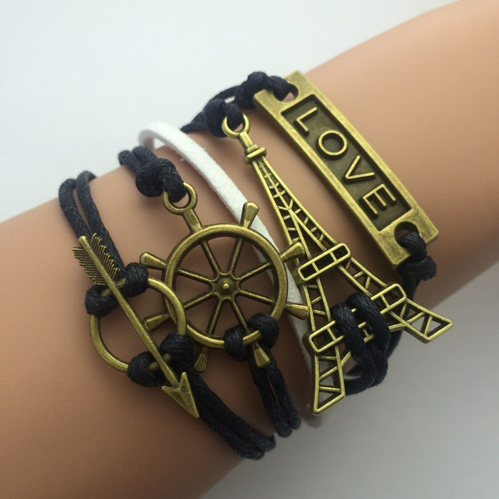Eiffel Tower Rudder Arrow Love Bracelets - Black