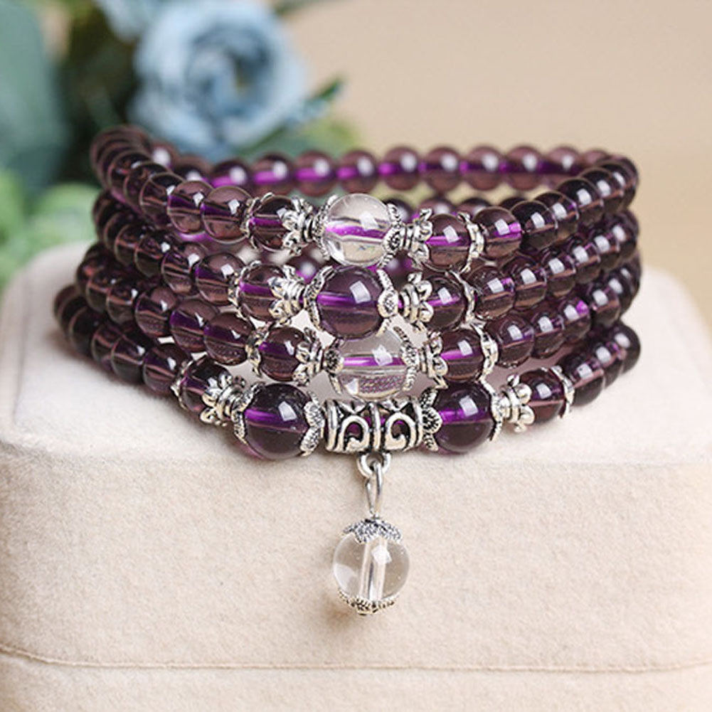 Amethyst 108 Prayer Beads Mala Bracelet Necklace in Velvet Pouch