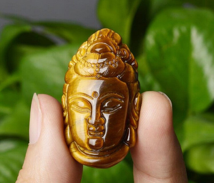 Tiger Eye Guanyin Buddha Pendant Necklace in Velvet Pouch - Hand Carved