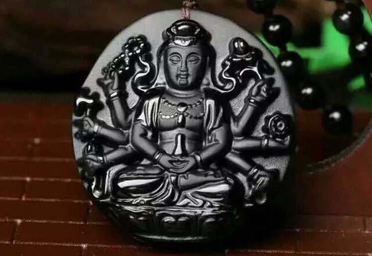 Protective Obsidian Thousand Arms Guan Yin Pendant/Necklace in Velvet Pouch-Hand Carved