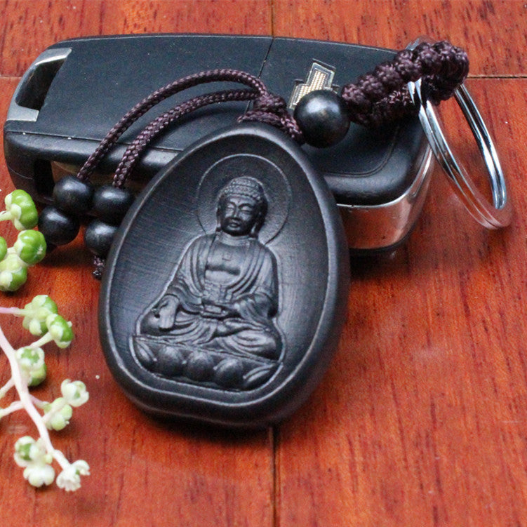 Hand-Carved Ebony Rosewood Amitabha Buddha Key Ring in Velvet Pouch - Black