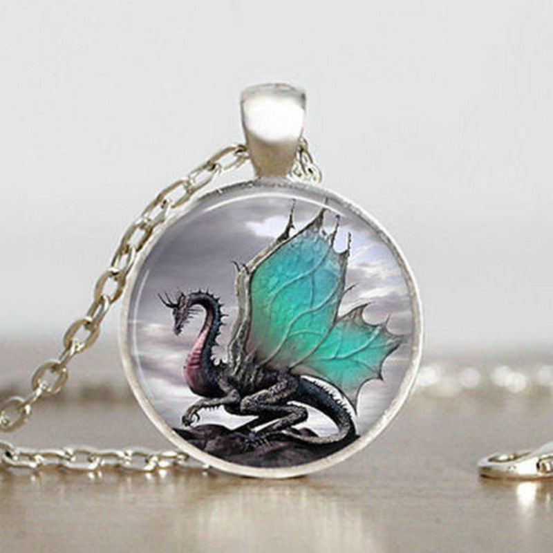 Vintage Glass Dragon Cabochon Silver Pendant Necklace Women Jewellery in Velvet Pouch