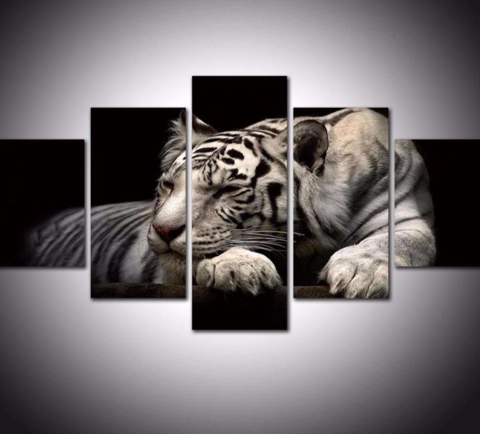 relaxing tiger 5 piece canvas wall art hd look4ward store