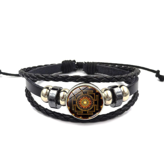 Sacred Geometry Sri Yantra Multilayer Leather Bracelet