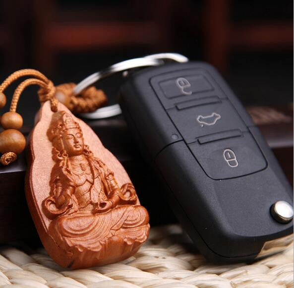 Handcarved Rosewood Guanyin Buddha Key Ring in Velvet Pouch