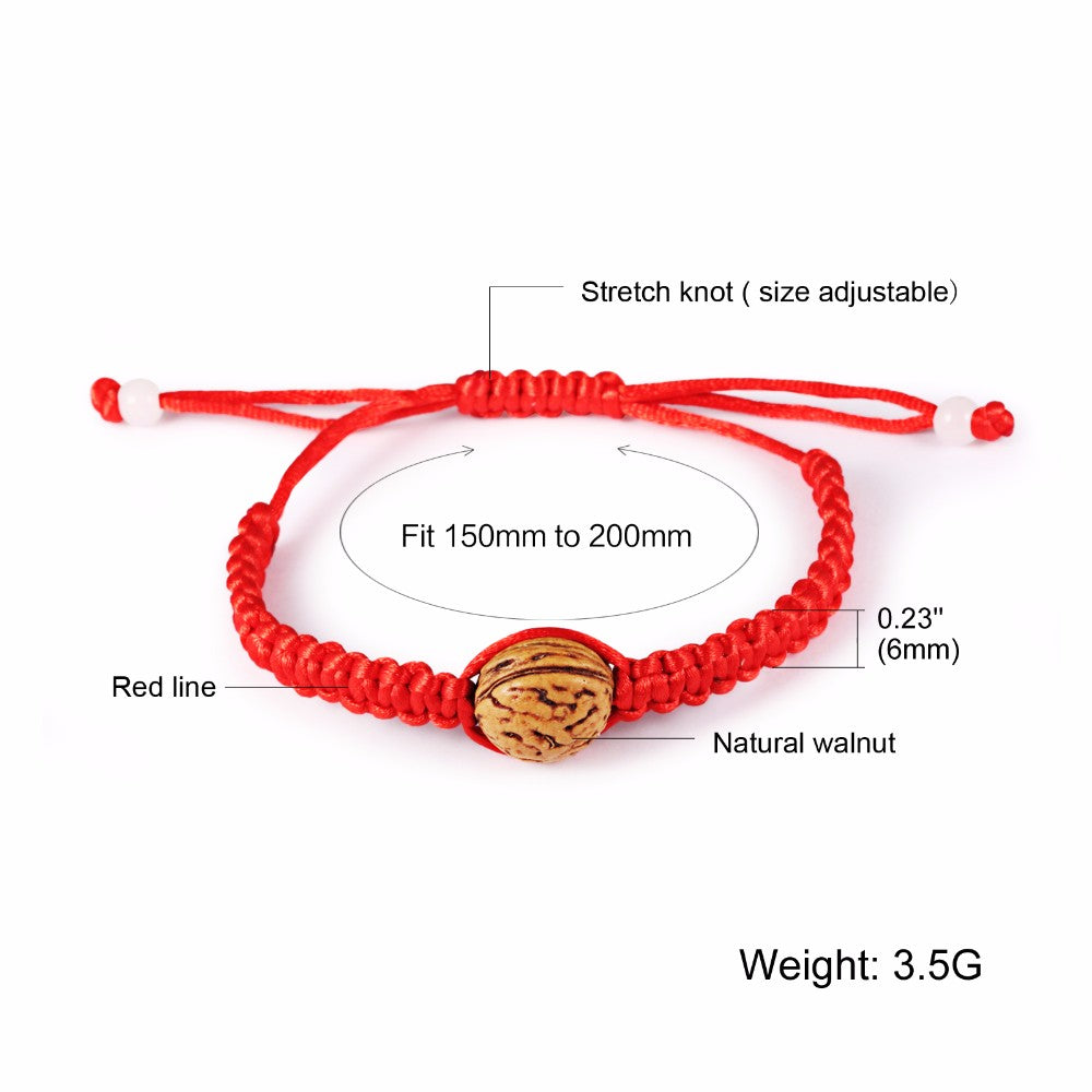 Adjustable Lucky Red Rope with Walnut Shambala Bracelet in Velvet Pouch