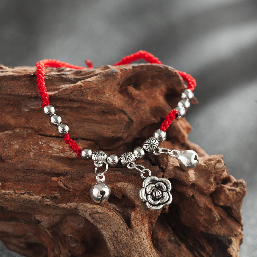 Adjustable Lucky Red Rope with Bells and Flower Charm Bracelet in Velvet Pouch