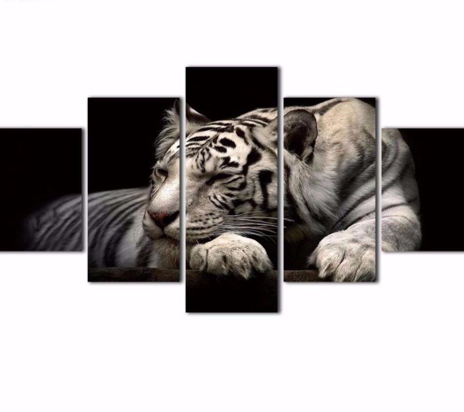 Relaxing Tiger 5 Piece Canvas Wall Art - HD
