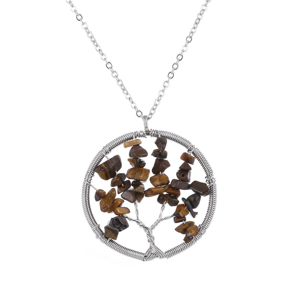 The Tree of Life Healing Natural Gemstone Pendant Necklace - Tiger Eye