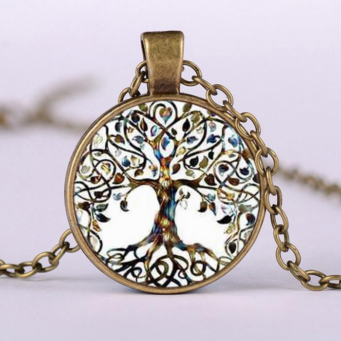 Retro Living Tree of Life Glass Cabochon Bronze Chain Pendant Necklace