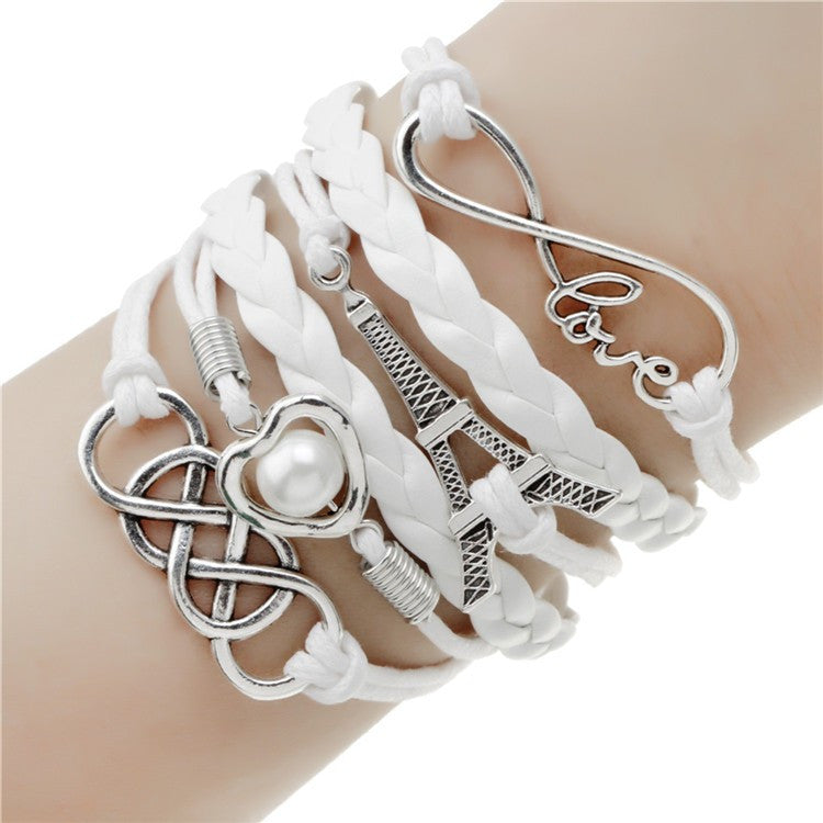 Multilayer Infinity LOVE Heart/Pearl Eiffel Tower Leather Charm Bracelet in Velvet Pouch