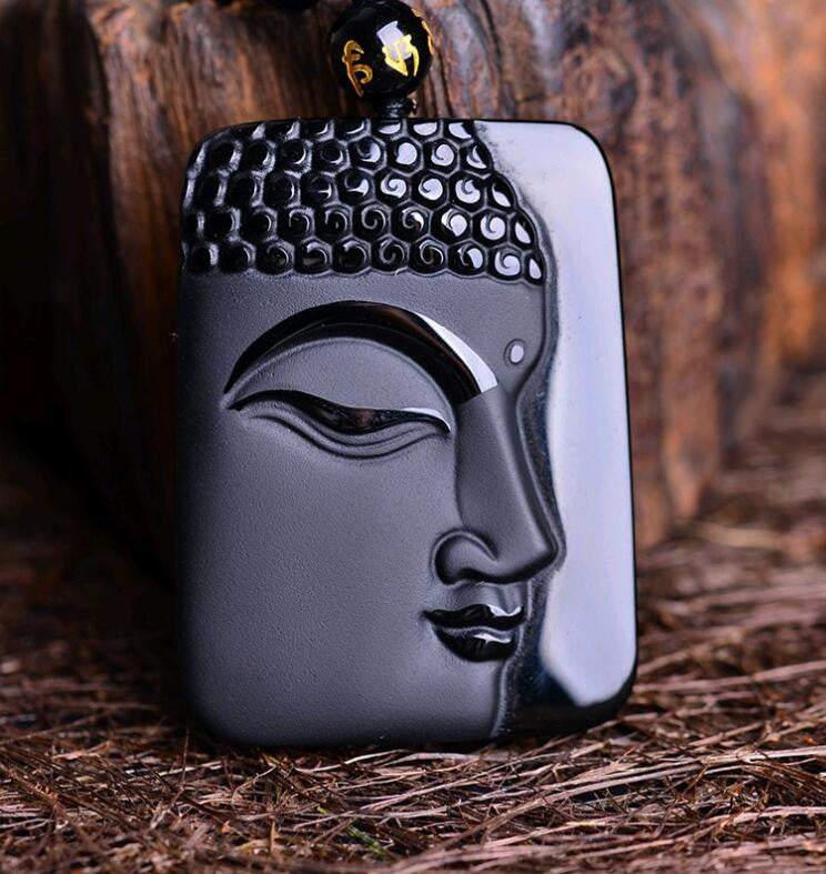 Volcanic Protective Obsidian Amulet Buddha Pendant Necklace in Velvet Pouch - Hand Carved