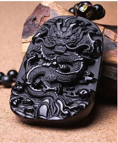Volcanic Protective Obsidian Dragon Pendant Necklace - Hand Carved