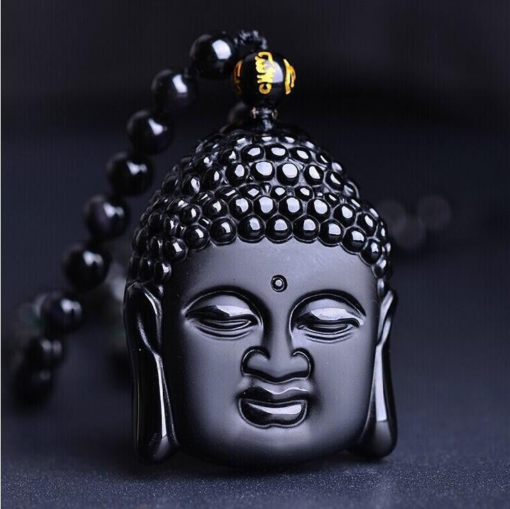 Volcanic Protective Obsidian Buddha Pendant Necklace - Hand Carved