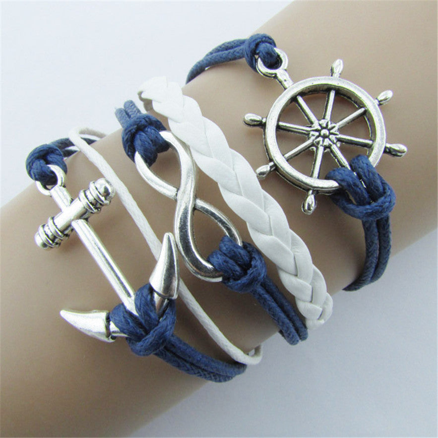 Double Infinite Multilayer Charm Leather Bracelets- Rudder Anchor Charm Bracelets in Velvet Pouch