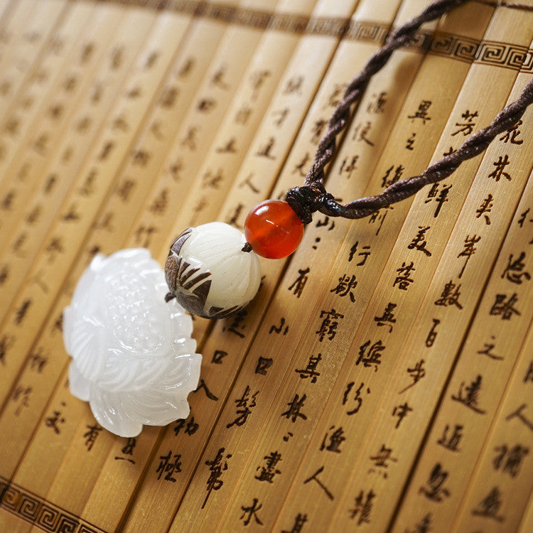 Hand Carved Lotus Bodhi Necklace/Pendant in Velvet Pouch