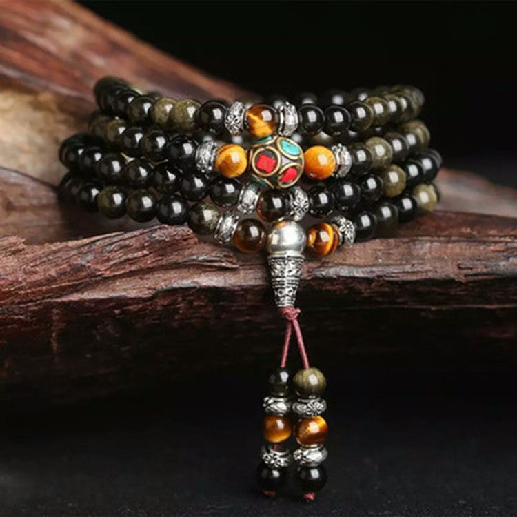 Natural Gold Obsidian Stone Bracelet with Tiger Eye Beads(108 Beads)