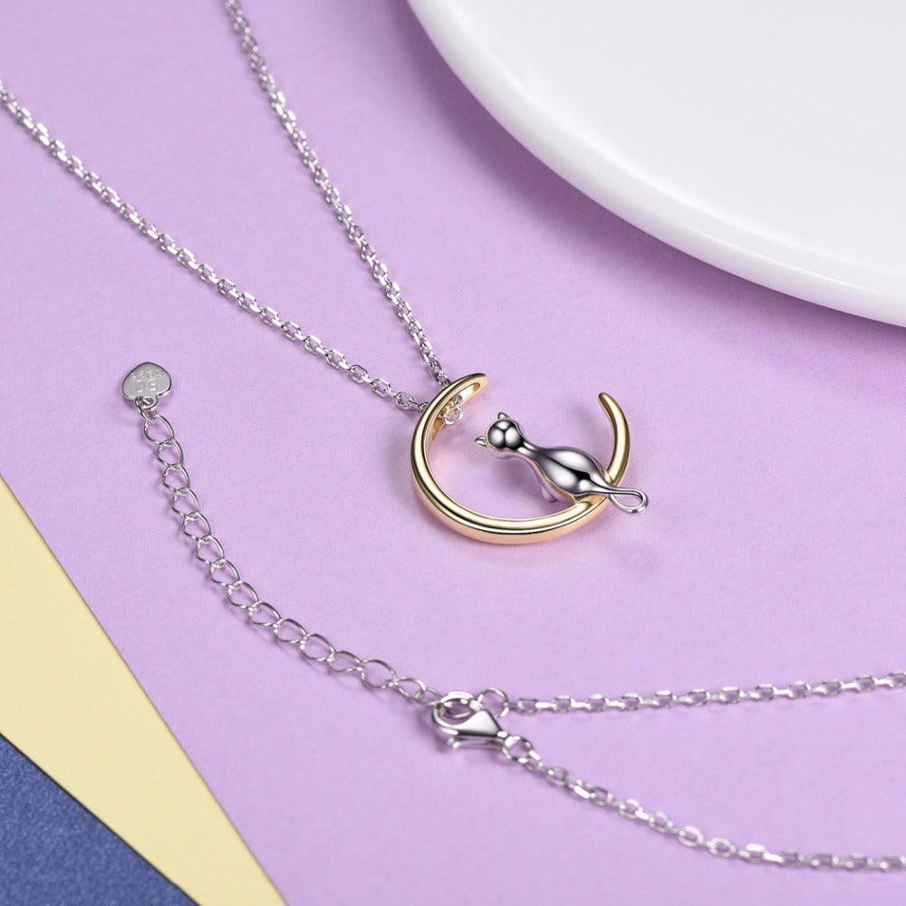 925 Sterling Silver Cat On The Moon Pendant Necklace