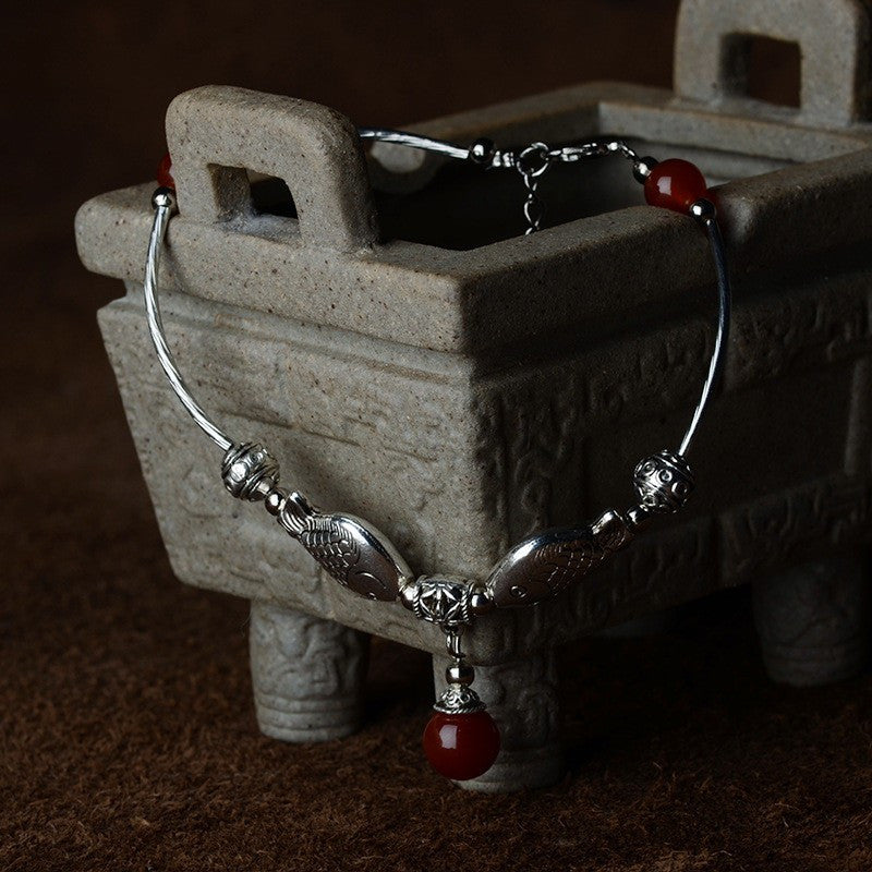 Ladies Coral Red Fish Shape Anklets/Tibetan Silver Retro Foot Chain in Velvet Pouch