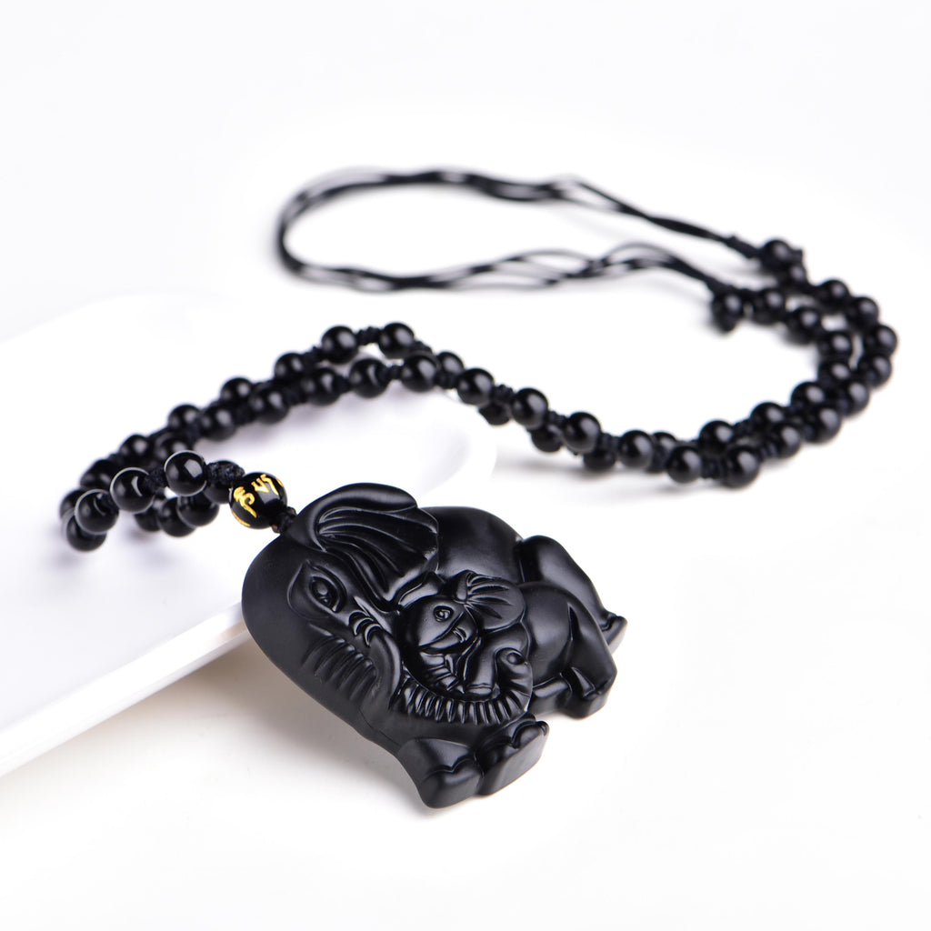 Protective Obsidian Elephants Pendant Necklace in Velvet Pouch-Hand Carved