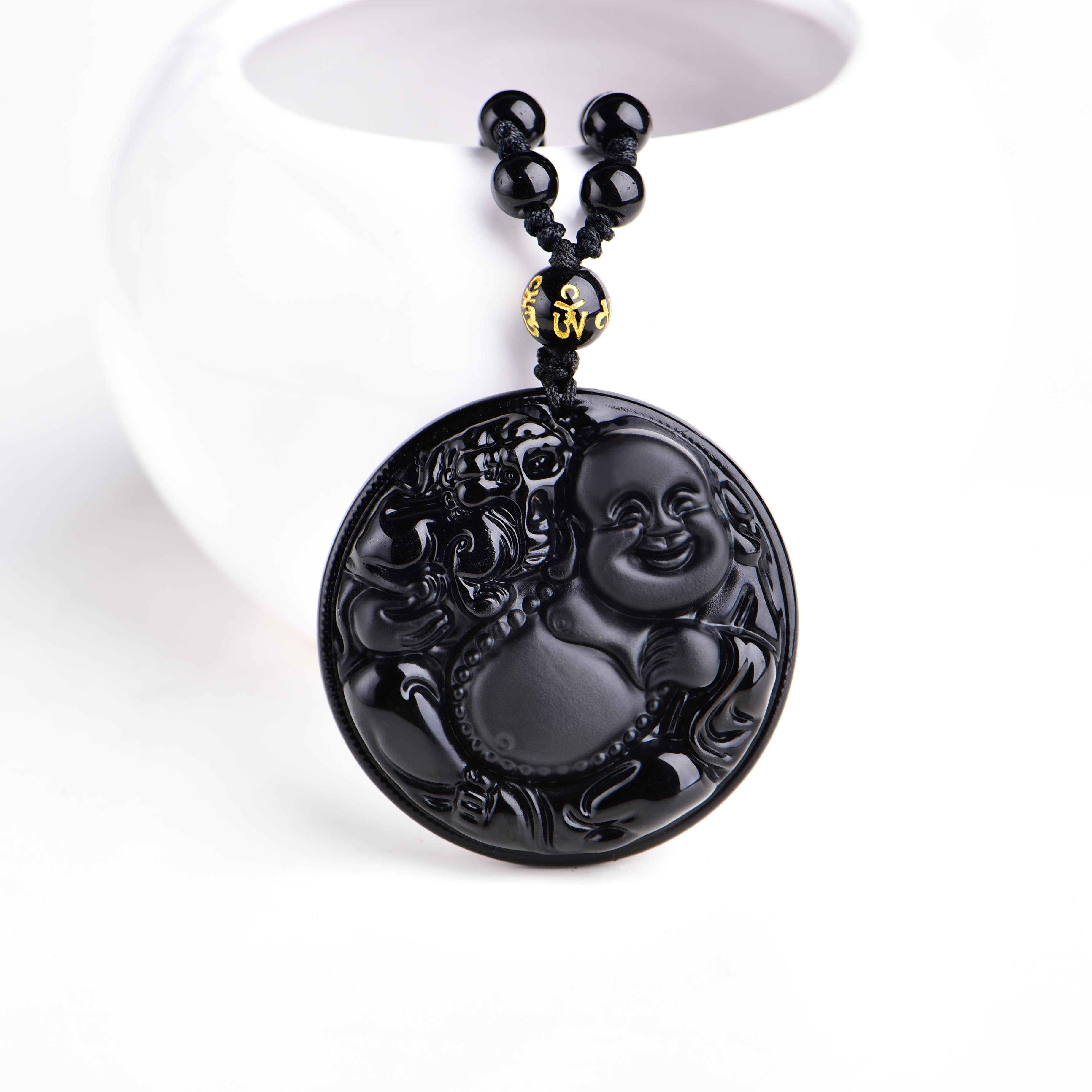 Protective obsidian happy buddha pendant necklace in velvet pouch protective obsidian happy buddha pendant necklace in velvet pouch hand carved aloadofball Image collections