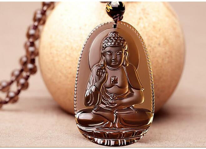 Protective Natural Ice Obsidian Amitabha Buddha Pendant Necklace/Velvet Pouch - Hand Carved