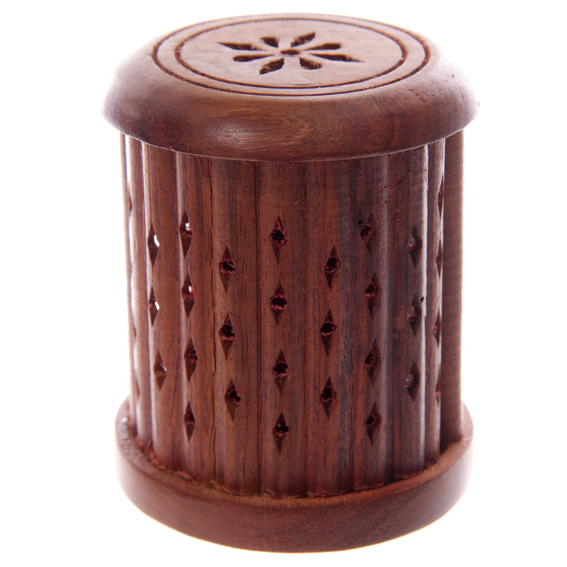 Carved Sheesham Wood Incense Holder with Sliding Door