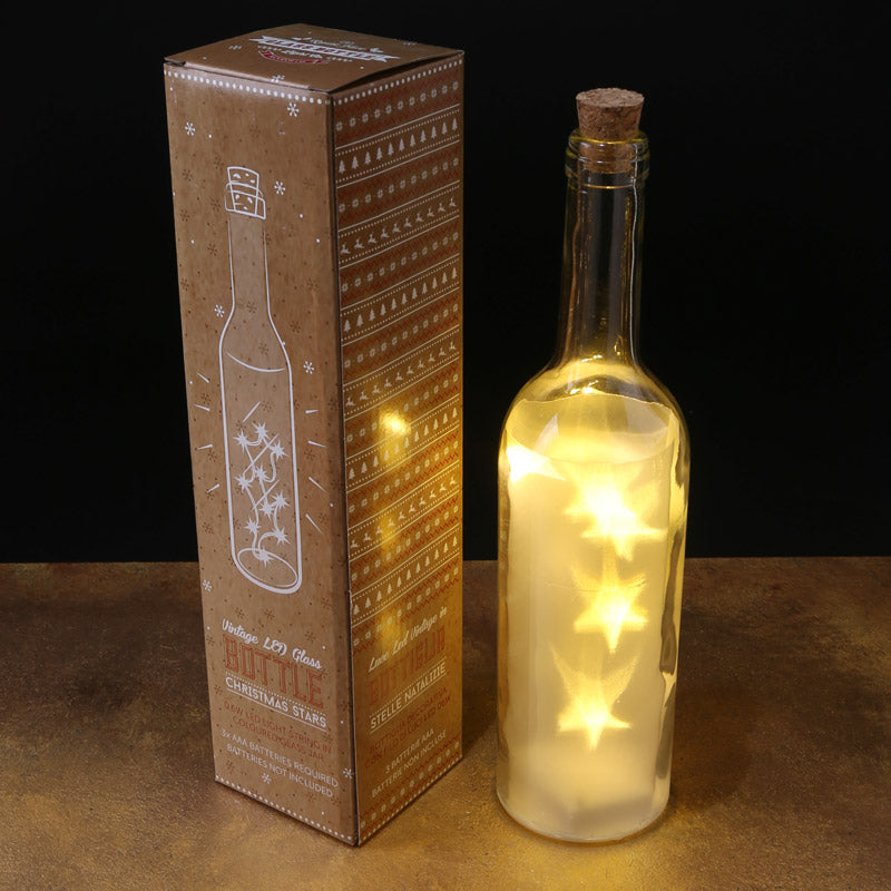 Decorative LED Light Bottle - White Stars