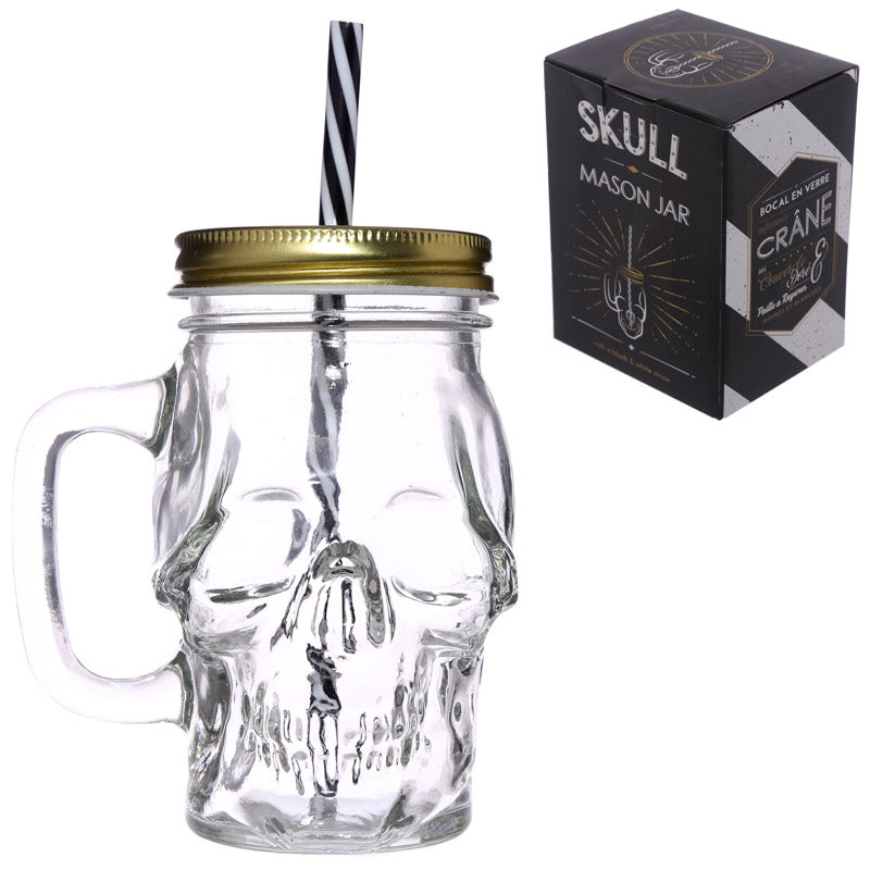 Fun Skull Shaped Glass Drinking Jar with Straw