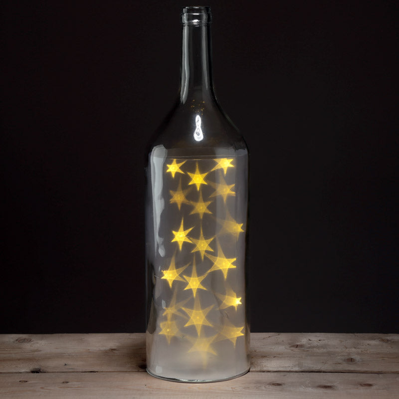 Decorative LED Glass Light Jar - Bottle with White Stars Large