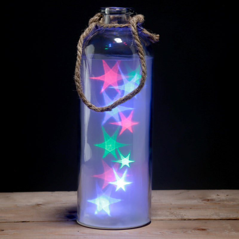 Decorative LED Glass Light Jar - Tall Coloured Stars with Rope