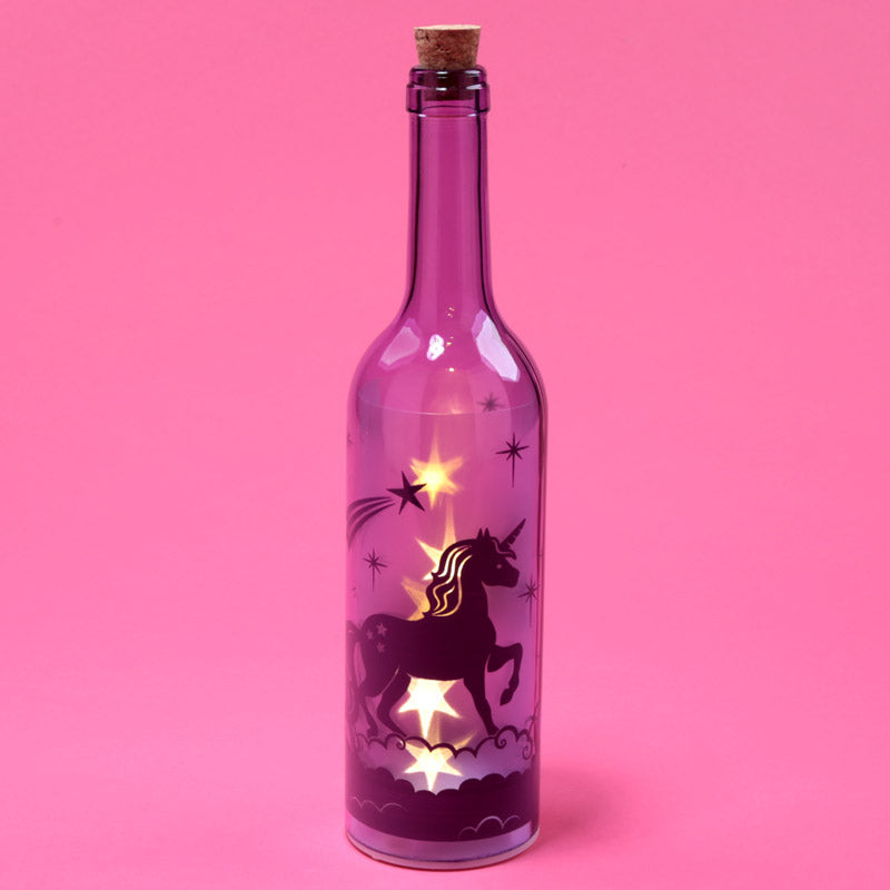 Decorative LED Glass Light Jar - Unicorn Bottle