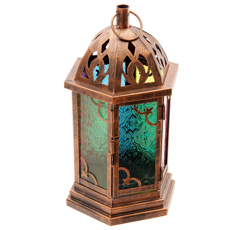 Bronze Effect Embossed Glass Moroccan Style Metal Lantern