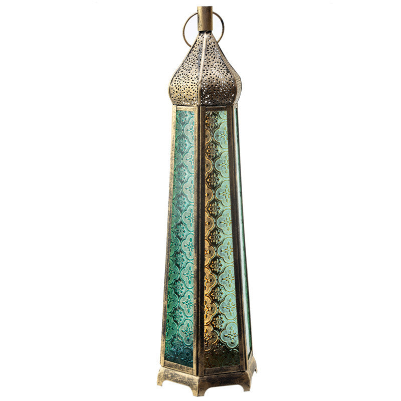Domed Tall Glass Moroccan Style Metal Standing Lantern