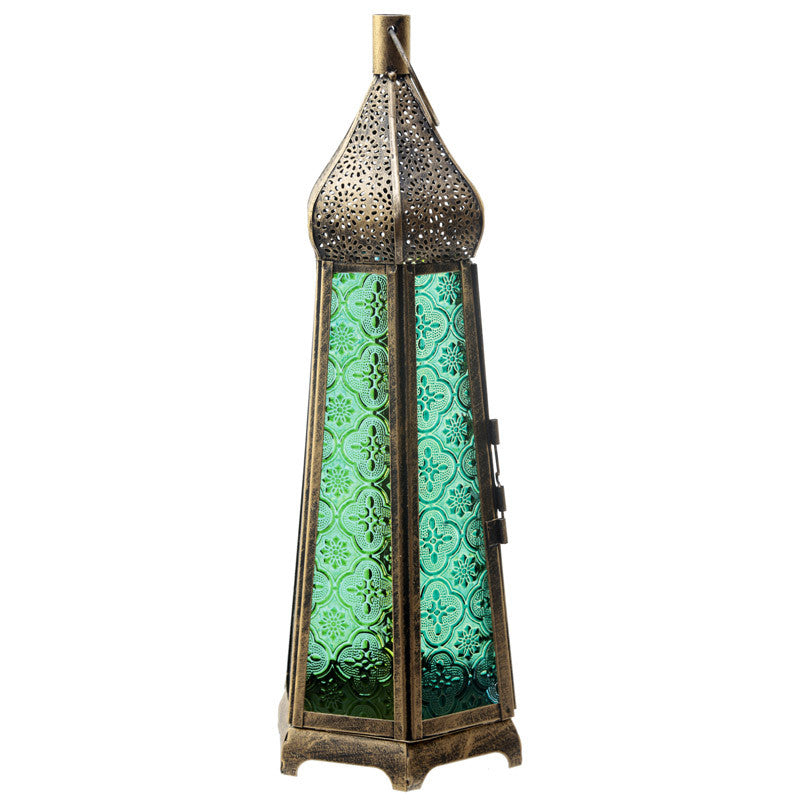 Domed Glass Moroccan Style Metal Standing Lantern