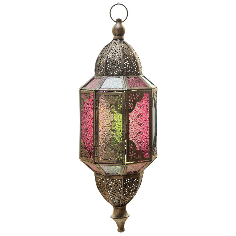 Domed Glass Moroccan Style Metal Hanging Lantern
