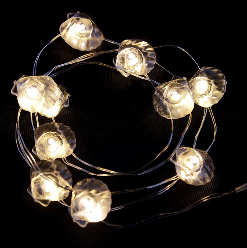 Decorative LED Light String - White Shells
