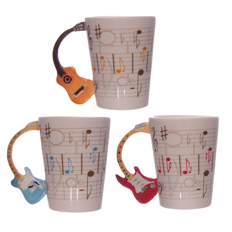 Novelty Guitar Shaped Handle Ceramic Mug