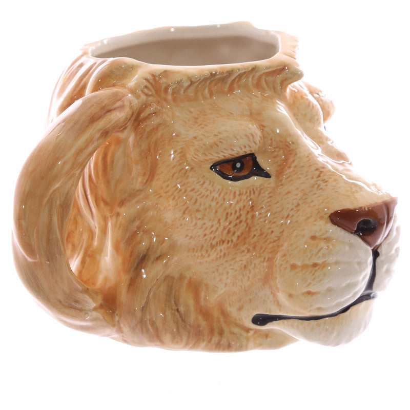 Novelty Lion Head Shaped Ceramic Mug