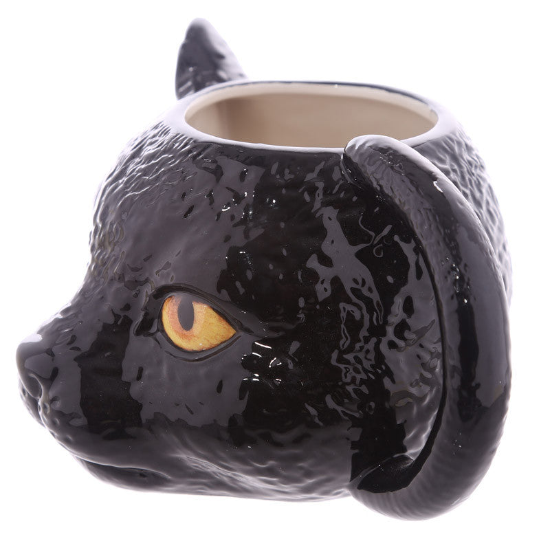 Novelty Black Cat Head Shaped Ceramic Mug