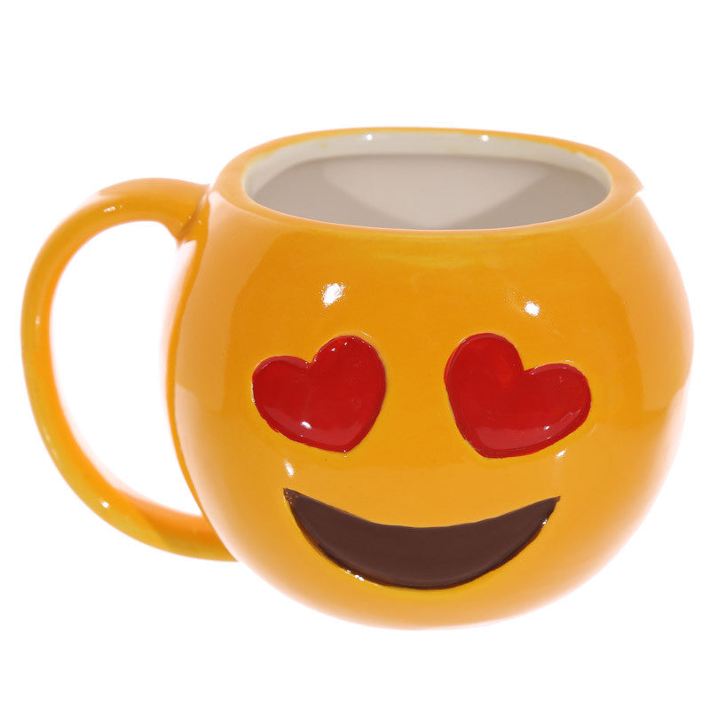 Fun Collectable Ceramic Love Hearts Face Emotive Mug